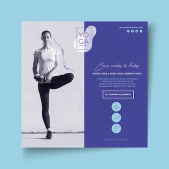 Modelo de folheto quadrado de aulas de ioga