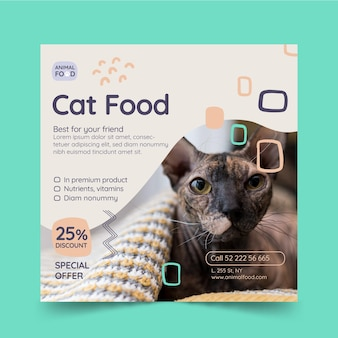 Modelo de folheto quadrado de comida animal