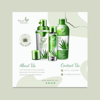 Modelo de folheto quadrado de cosmético orgânico