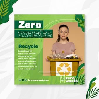 Modelo de folheto quadrado de desperdício zero