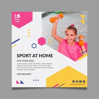 Modelo de folheto quadrado de esporte em casa