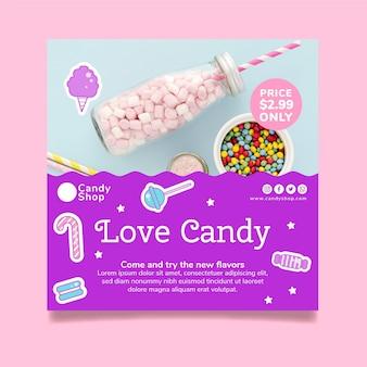 Modelo de folheto quadrado de loja de doces