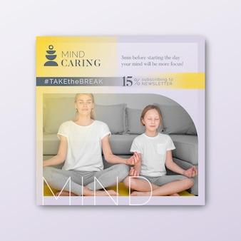 Modelo de folheto quadrado de meditação e atenção plena