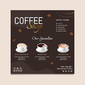 Modelo de folheto quadrado de menu de café