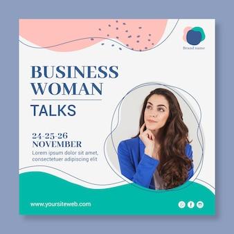 Modelo de folheto quadrado de mulher de negócios