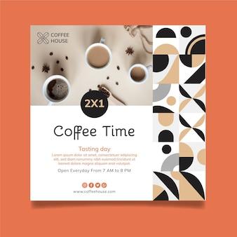 Modelo de folheto quadrado para a hora do café