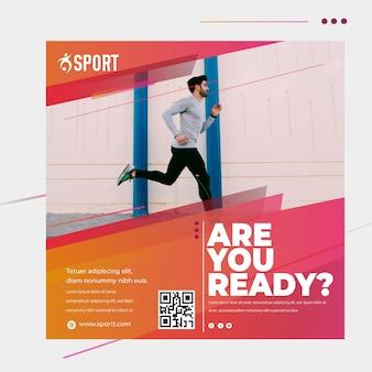 Modelo de folheto quadrado para atividades esportivas