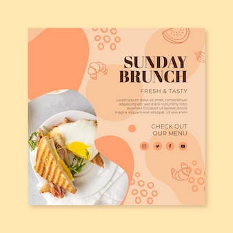 Modelo de folheto quadrado para brunch de domingo