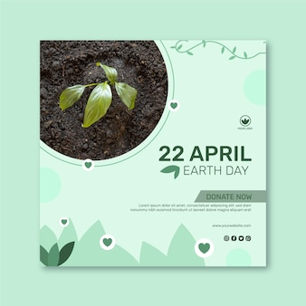 Modelo de folheto quadrado para celebração do dia da mãe terra Vetor Premium