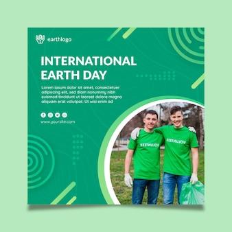 Modelo de folheto quadrado para celebração do dia da mãe terra