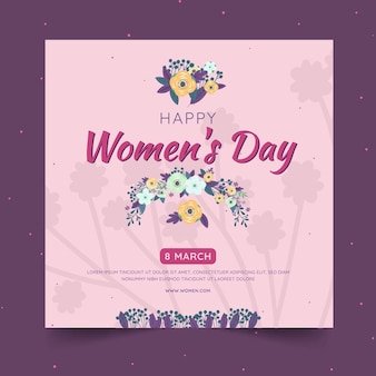 Modelo de folheto quadrado para o dia internacional da mulher com flores