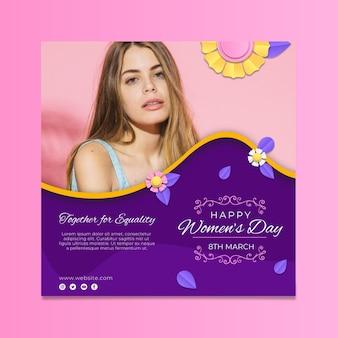 Modelo de folheto quadrado para o dia internacional da mulher