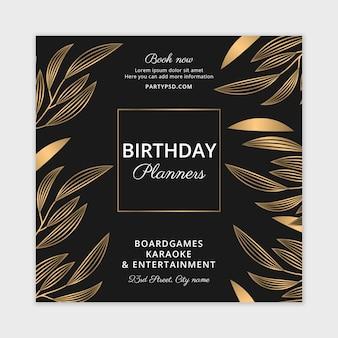 Modelo de folheto quadrado para planejadores de aniversário