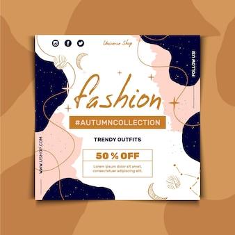 Modelo de folheto quadrado para venda de moda