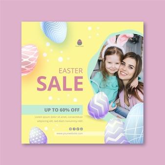Modelo de folheto quadrado para venda de páscoa com mãe e filha