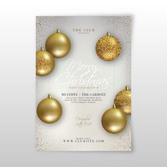 Modelo de folheto realista de festa de natal