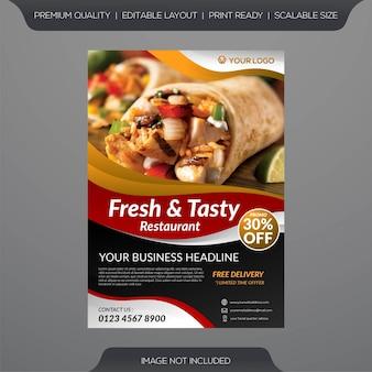 Modelo de folheto - restaurante de comida fresca