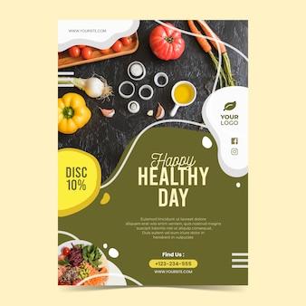 Modelo de folheto - restaurante de comida saudável com foto