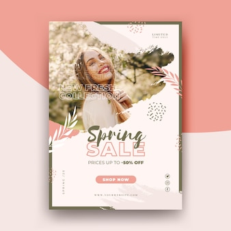 Modelo de folheto - venda de primavera com foto