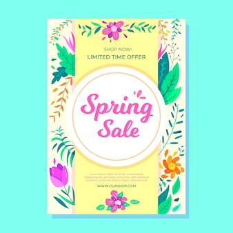 Modelo de folheto - venda de primavera de design plano