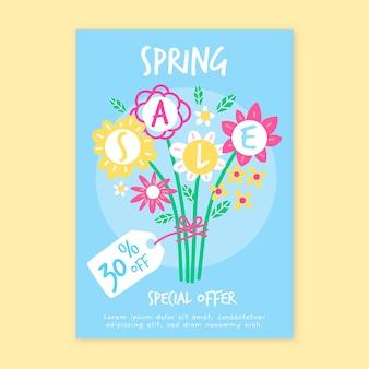 Modelo de folheto - venda de primavera desenhados à mão