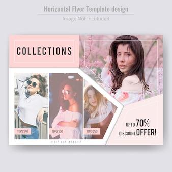 Modelo de folheto - venda de produtos de moda horizontal