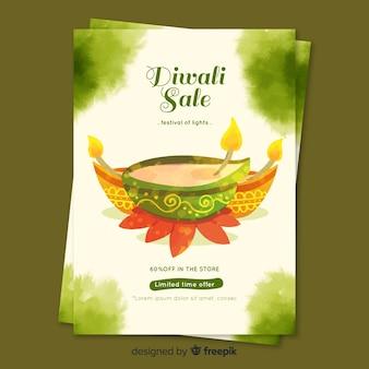 Modelo de folheto - venda em aquarela diwali