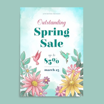 Modelo de folheto - venda primavera aquarela