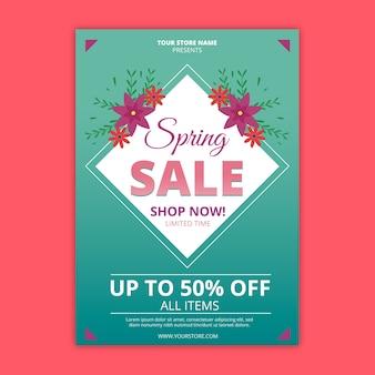 Modelo de folheto - venda primavera plana colorida