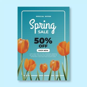 Modelo de folheto - venda realista de primavera