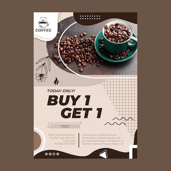 Modelo de folheto vertical com oferta de café