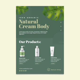 Modelo de folheto vertical cosmético natural