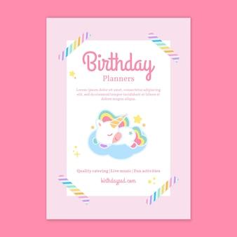 Modelo de folheto vertical de aniversário infantil unicórnio