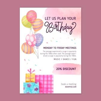 Modelo de folheto vertical de aniversário infantil Vetor Premium