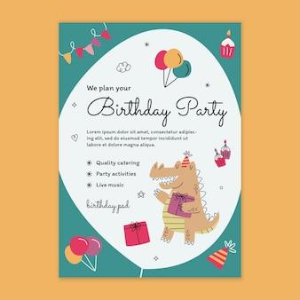 Modelo de folheto vertical de aniversário infantil