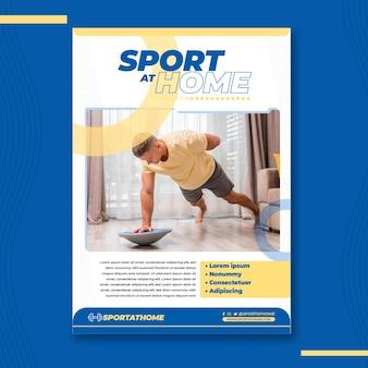 Modelo de folheto vertical de esporte em casa