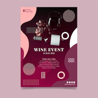 Modelo de folheto vertical de evento de vinho