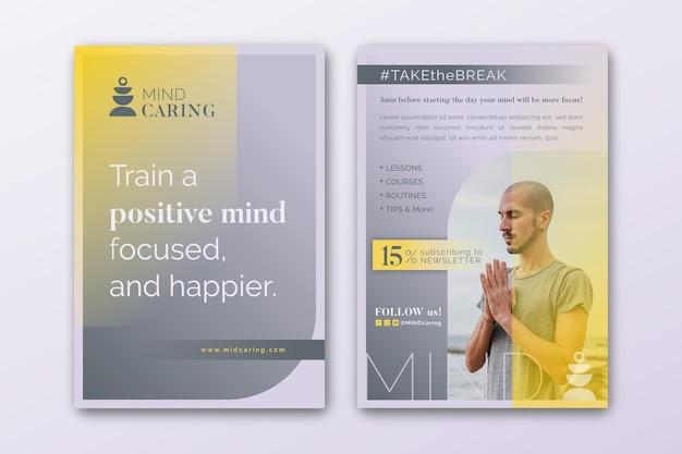 Modelo de folheto vertical de meditação e atenção plena