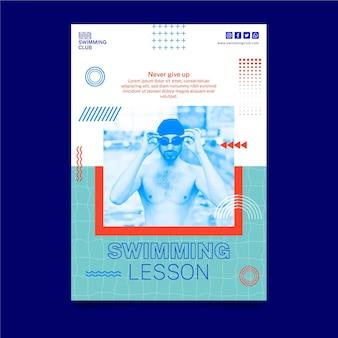 Modelo de folheto vertical de natação