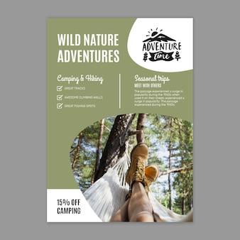 Modelo de folheto vertical de natureza selvagem
