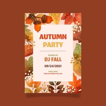 Modelo de folheto vertical de outono em aquarela