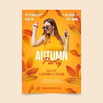 Modelo de folheto vertical de outono realista com foto