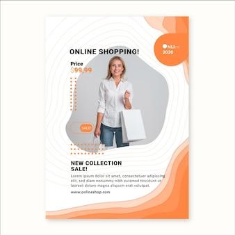 Modelo de folheto vertical de serviço de compras online