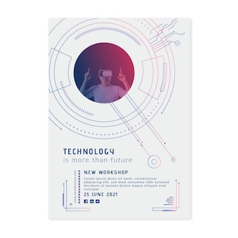 Modelo de folheto vertical de tecnologia e futuro
