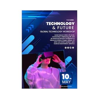 Modelo de folheto vertical de tecnologia