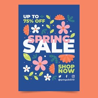 Modelo de folheto vertical de venda de primavera desenhada à mão