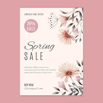 Modelo de folheto vertical de venda de primavera em aquarela