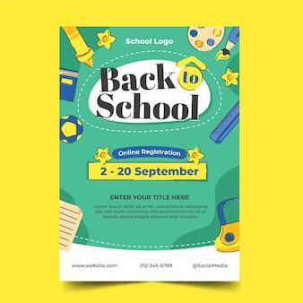 Modelo de folheto vertical de volta às aulas