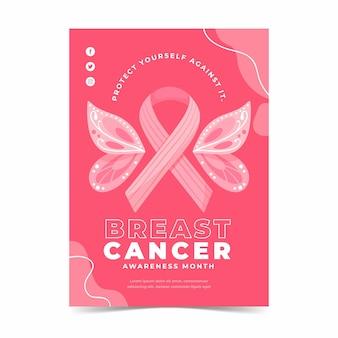 Modelo de folheto vertical desenhado à mão para mês de conscientização do câncer de mama