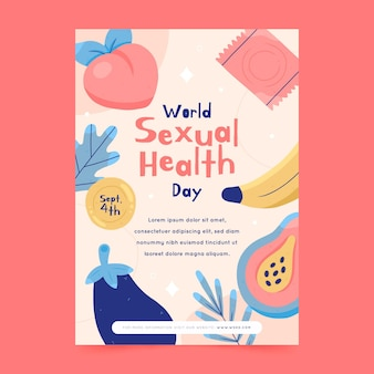 Modelo de folheto vertical desenhado à mão para o dia mundial da saúde sexual